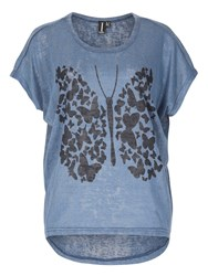 Izabel London Graphic Butterfly Print Top Blue