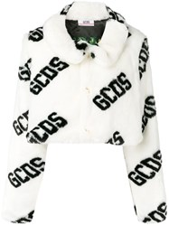 Gcds Logo Print Cropped Fur Jacket White