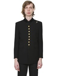 Saint Laurent Wool Crepe Military Jacket