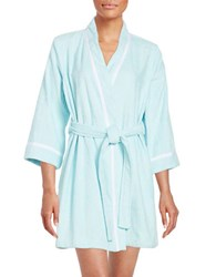 Kate Spade Embroidered Terry Short Robe Bridal Blue