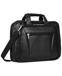 Kenneth Cole Reaction Leather Double Gusset Laptop Briefcase Black