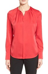 Boss Women's Banora2 Ruched Neck Stretch Silk Blouse