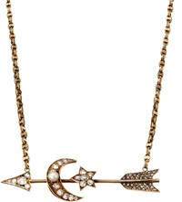 Annina Vogel Bespoke 9Ct Gold Diamond And Pearl Arrow Necklace