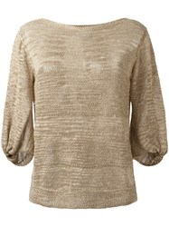 D.Exterior Balloon Sleeves Top Nude Neutrals
