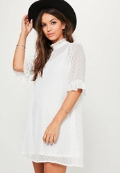 Missguided White Oversized Dobby Frill Sleeve Dress