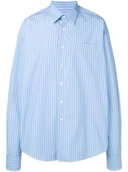 Ami Alexandre Mattiussi Oversized Long Sleeve Shirt With Chest Pocket Blue