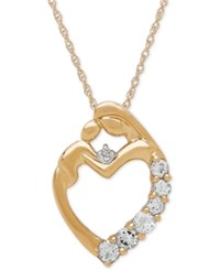 Macy's Aquamarine 1 3 Ct. T.W. And Diamond Accent Mother And Baby Pendant Necklace In 14K Gold Yellow Gold