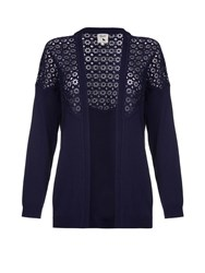 Yumi Broderie Long Sleeve Cardigan Navy