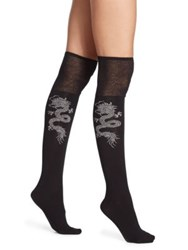 Natori Legwear Dragon Over The Knee Socks Black