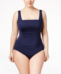 Calvin Klein Plus Size Ruched One Piece Swimsuit Women's Swimsuit Navy