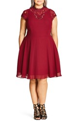 City Chic Plus Size Women's 'Poser' Lace Detail Chiffon Overlay Fit And Flare Dress Ruby