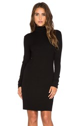 Enza Costa Rib Long Sleeve Turtleneck Mini Dress Black