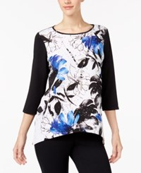 Alfred Dunner High Roller Petite Printed Necklace Top Multi