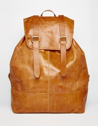 Asos Leather Backpack In Tan With Vintage Styling