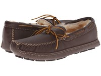 Minnetonka Sheepskin Lined Moose Slipper Chocolate Moose Men's Moccasin Shoes Brown