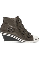 Ash Metallic Cracked Leather Wedge Sneakers Silver