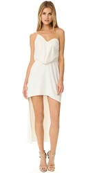 Halston One Shoulder Draped Dress Chalk