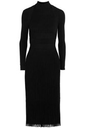 Cedric Charlier Ribbed Knit Dress Black