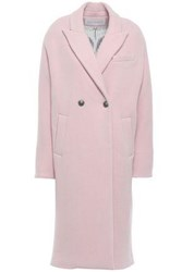 Veronica Beard Woman Double Breasted Wool Blend Twill Coat Baby Pink