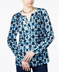 Tommy Hilfiger Printed Blouse Only At Macy's Star Dye Print