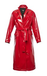 Msgm Eco Patent Leather Coat Red