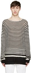 Haider Ackermann Black And White Striped Pullover