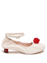 Simone Rocha Embellished Perspex Heel Leather Pumps Pink