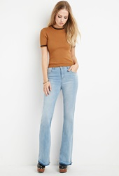 Forever 21 High Waisted Flared Jeans Light Denim