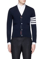 Thom Browne Stripe Sleeve Cropped Cashmere Cardigan Blue