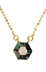 Rachel Zoe 'Ali' Stone And Crystal Hexagon Pendant Necklace Gold Black