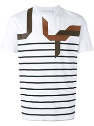Neil Barrett Abstract Striped T Shirt Men Cotton S White