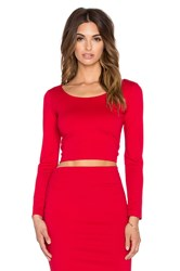 Amanda Uprichard Long Sleeve Crop Top Red