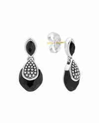 Lagos Silver Maya Black Onyx Drop Earrings 28Mm