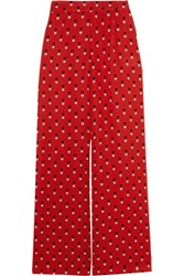 Christopher Kane Printed Silk Satin Wide Leg Pants Red