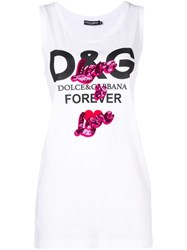 Dolce And Gabbana Print Tank Top White