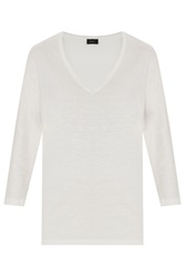 Joseph Linen Stretch V Neck Tee
