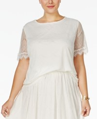 Ing Plus Size Short Sleeve Lace Blouse Off White