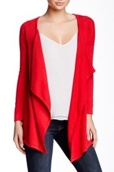 Sweet Romeo Draped Front Knit Cardigan Red