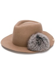Ca4la Pom Pom Fedora Hat Nude And Neutrals