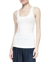 Donna Karan Seamed Scoop Neck Tank Top Ivory