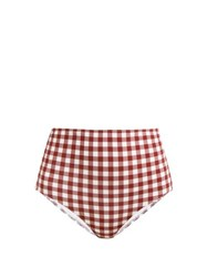 Belize Pepe High Waisted Gingham Print Bikini Briefs Red White