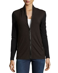 P. Luca Stretch Knit Zip Front Cardigan Brown Black