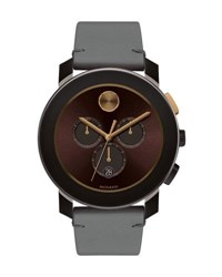 Movado 43.5Mm Bold Watch With Leather Strap Gray