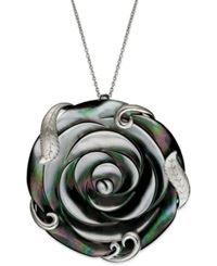 Macy's Sterling Silver Necklace Cultured Tahitian Mother Of Pearl Flower Pendant 50Mm Gray