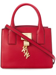 Donna Karan Small Logo Charm Tote Red