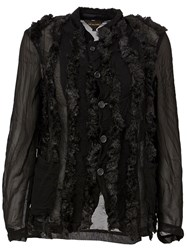 Comme Des Gara Ons Faux Fur Buttoned Jacket Black
