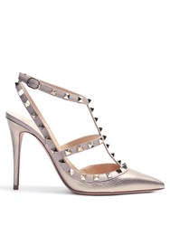 Valentino Rockstud Leather Pumps Gold
