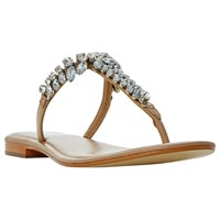 Dune Nara Jewelled Toe Post Flat Sandals Tan