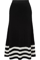 Alexander Mcqueen Pointelle Trimmed Cable Knit Midi Skirt Black