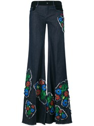 Sonia Rykiel Anemone Detail Wide Leg Trousers Blue